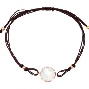 Cord Bracelet in silver 925 pink gold plated withmonnstone - Petra