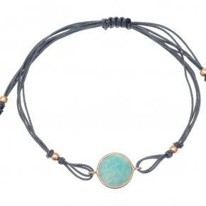 Cord Bracelet in silver 925, pink gold plated with amazonite - Petra