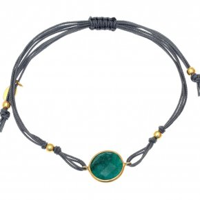 Cord Bracelet in silver 925 pink gold plated with emerald - Petra