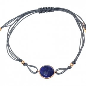 Cord Bracelet in silver 925 pink gold plated with sapphire - Petra