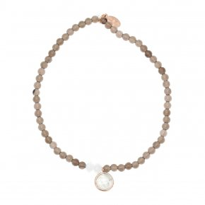 Bracelet in silver 925, pink gold plated with moonstone andsmoky quartz - Petra