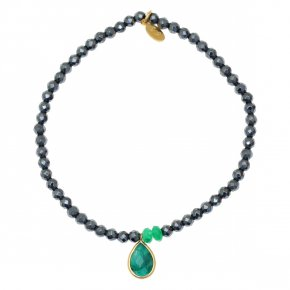 Bracelet in silver 925 pink gold plated with emerald and hematite - Petra