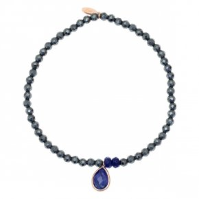 Bracelet in silver 925 pink gold plated with sapphire and hematite - Petra