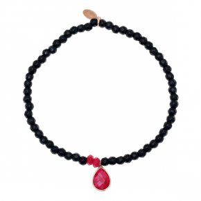 Bracelet in silver 925, pink gold plated with rubyand onyx - Petra