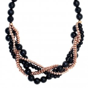 Necklace in silver 925, pink gold plated with onyx - Ariadne