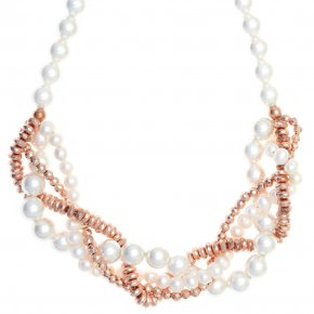 Necklace in silver 925, pink gold plated with syntheticstones - Ariadne