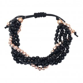 Bracelet in silver 925 pink gold plated with onyx - Ariadne