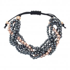Bracelet in silver 925, pink gold plated withhematite - Ariadne