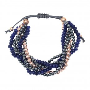 Bracelet in silver 925, pink gold plated with agate andhematite - Ariadne