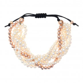 Bracelet in silver 925, pink gold plated with fresh waterpearls - Ariadne