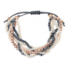 Bracelet in silver 925, pink gold plated with fresh waterpearl and agate - Ariadne