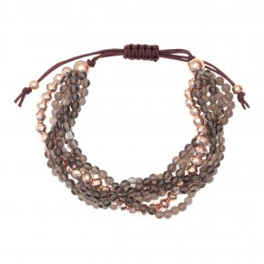 Bracelet in silver 925, pink gold plated with smokedquartz - Ariadne