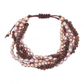 Bracelet in silver 925 pink gold plated with fresh water pearl and agate - Ariadne
