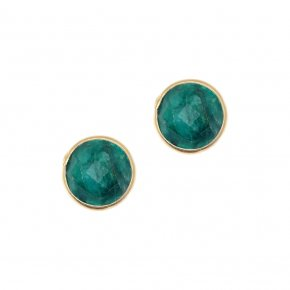 Earrings Silver 925, pink gold with emerald - Petra