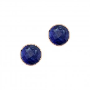 Earrings Silver 925, pink gold plated with sapphire - Petra