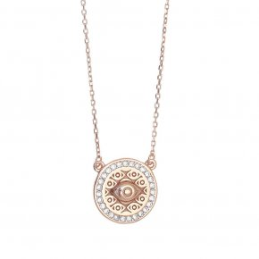Necklace in silver 925 pink gold plated with white zirconia - Wish Luck