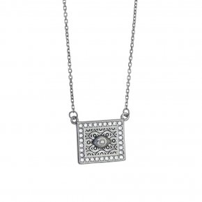 Necklace in silver 925 black rhodium plated with white zirconia - Apocalypse