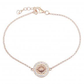 Bracelet in silver 925 pink gold plated with white zirconia - Apocalypse