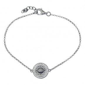 Bracelet in silver 925 black rhodium plated with white zirconia - Apocalypse
