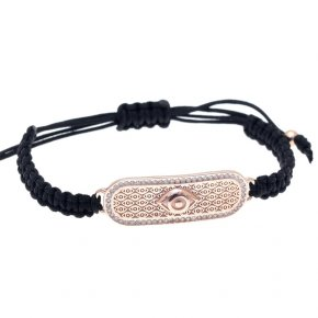 Cord Bracelet in silver 925 pink gold plated with white zirconia - Apocalypse