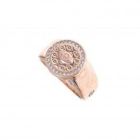 Ring Silver 925 pink gold plated with white zirconia - Apocalypse