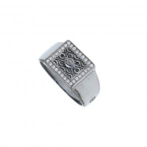 Ring Silver 925 black rhodium plated with white zirconia - Apocalypse