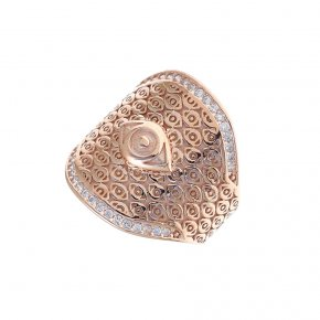 Ring Silver 925 pink gold plated with white zirconia - Wish Luck