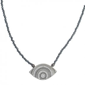 Necklace in silver 925 black rhodium plated with hematite - Apocalypse