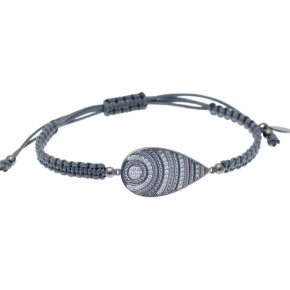 Cord Bracelet in silver 925 black rhodium plated with hematite - Apocalypse