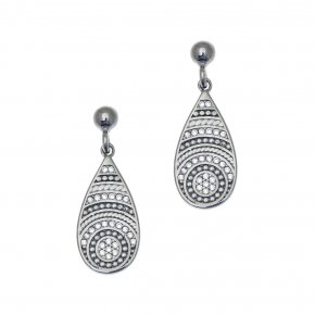Earrings Silver 925 black rhodium plated with white zirconia - Apocalypse