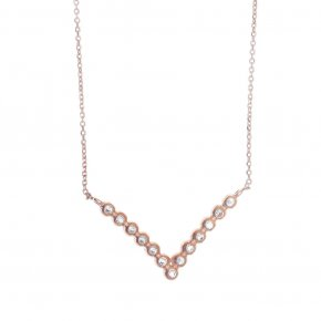 Necklace in silver 925 pink gold plated with white zirconia - Amalthia