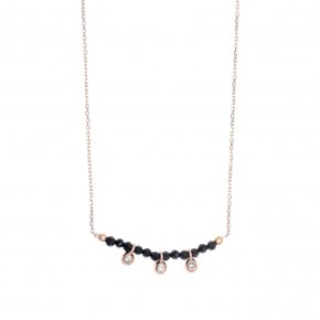 Necklace in silver 925 pink gold plated with onyx and white zirconia - Amalthia