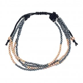 Bracelet in silver 925 pink gold plated with hematite and white zirconia - Amalthia