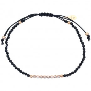 Bracelet in silver 925 pink gold plated with onyx and white zirconia - Amalthia