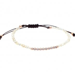 Bracelet in silver 925 pink gold plated with fresh water pearl and white zirconia - Amalthia