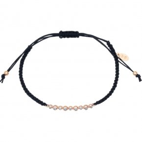 Cord Bracelet in silver 925 pink gold plated with white zirconia - Amalthia