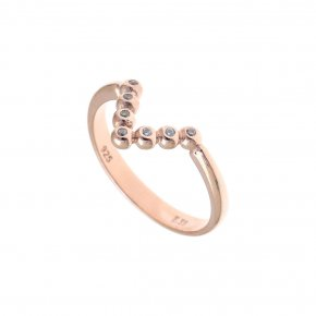 Ring Silver 925 pink gold plated with white zirconia - Amalthia