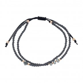 Bracelet silver 925 pink gold plated & with onyx and hematite - aperitto