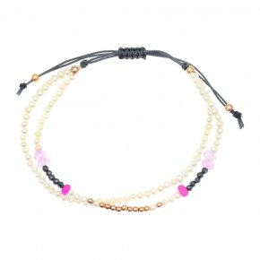 Bracelet Silver 925 pink gold plated with red zirconia - aperitto