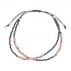 Bracelet silver 925 pink gold plated & with hematite - aperitto