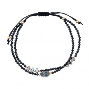 Bracelet in silver 925 pink gold plated with black spinel - aperitto