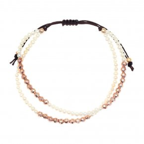 Bracelet silver 925 pink gold plated & with fresh water pearls - aperitto