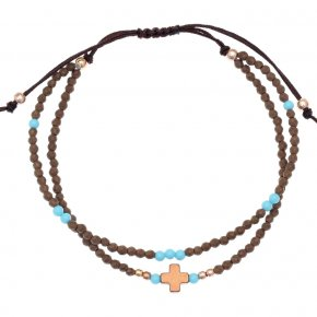 Cord Bracelet in silver 925 pink gold plated with turquoise zirconia - aperitto
