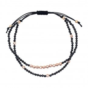 Bracelet silver 925 pink gold plated & with onyx - aperitto