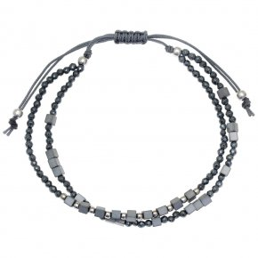 Cord Bracelet in silver 925 pink gold plated with black spinel - aperitto