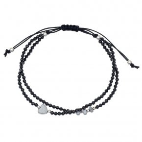 Bracelet silver 925 rhodium plated & with onyx - aperitto