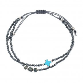Bracelet silver 925 rhodium plated & with hematite - aperitto