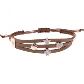 Cord Bracelet in silver 925 pink gold plated with white zirconia - Wish Luck