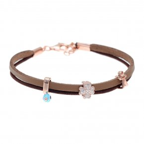 Cord Bracelet in silver 925 pink gold plated with white zirconia - Filia
