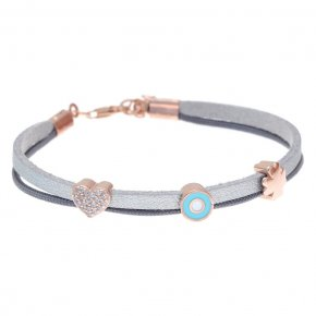 Cord Bracelet in silver 925, pink gold plated with white zirconia - Filia